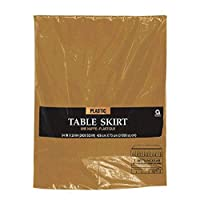 Disposable Pleated Plastic Party Table Skirt in Solid Color Tableware, Gold, Plastic , 14' x 29""