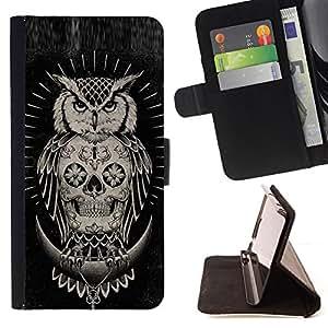BullDog Case - FOR/Samsung Galaxy A3 / - / SKULL OWL NATIVE AMERICAN BLACK /- Monedero de cuero de la PU Llevar cubierta de la caja con el ID Credit Card Slots Flip funda de cuer