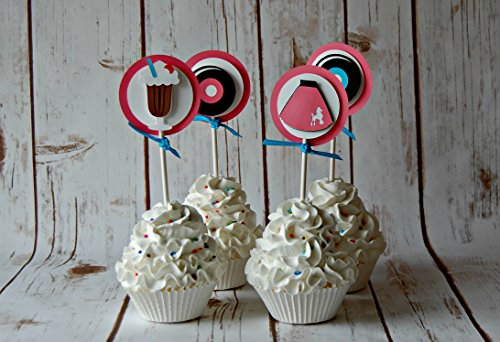 Sock Hop Birthday Party Cupcake Toppers (set of 12)