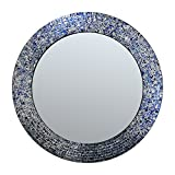 DecorShore 24″ Sapphire and Silver, Handmade Wall Mirror, Decorative Glass Mosaic by Review