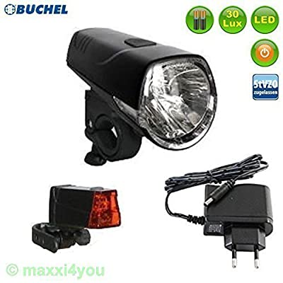 Büchel Sydney Set éclairage de vélo 30LUX LED avec chargeur/Batteries-01010318