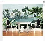 Custom Wallpaper Mural European Hand-Painted Pastoral Banana Tree Pavilion Jungle Painting Mural 3D Wallpaper 200X140Cm