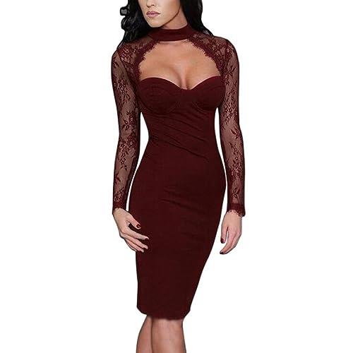LILICAT Damen Minikleid Clubwear Elegant Partykleid Mode Bodycon Sexy  Dessous Kleid Spitze Kleid Freizeit Etuikleid Langarm e4b12fc896