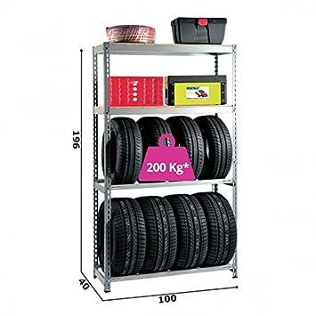 Scaffalature Porta Gomme.Grima Scaffale Portagomme In Legno Metallo Grigio 100 X 40 X 196h Portata 800 Kg