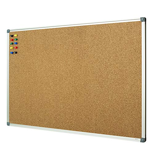 Lockways Cork Board Bulletin Board - Double Sided Corkboard 36 X 24 Notice Board 3 X 2 - Silver Aluminium Frame U12118762609 for School, Home & Office (Set Including 10 Push Pins) (24 x 36, Silver) -