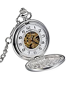 Mudder Classic Smooth Surface Silver Mechanical Pocket Watch with Chain