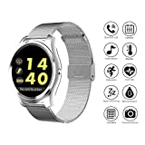 AOZBZ Smart Sports Watch, Bluetooth Waterproof Touch Screen Android IOS Pedometer Heart Rate Monitor Bluetooth Camera Control Steel Wristbands Fashion Smart Watch for iPhone Android (Silver)