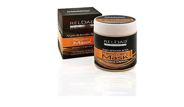 Reload profesional del crecimiento del vello | 100% natural | Argán y Queratina seda recuperación máscara de pelo | 500 ml: Amazon.es: Belleza