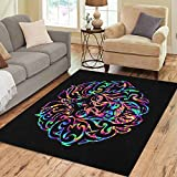 Semtomn Area Rug 2' X 3' African Abstract Lion Head in Multicolored Psychedelic Colors Animal Home Decor Collection Floor Rugs Carpet for Living Room Bedroom Dining Room