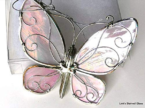 Stained Glass Butterfly Sun Catcher, Pink
