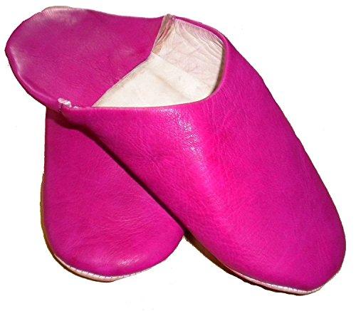 Pantofole Marocchino Rosa Babouche Pelle Fusia Tradizionale Fiera Mocassini 100 7q5xqdg