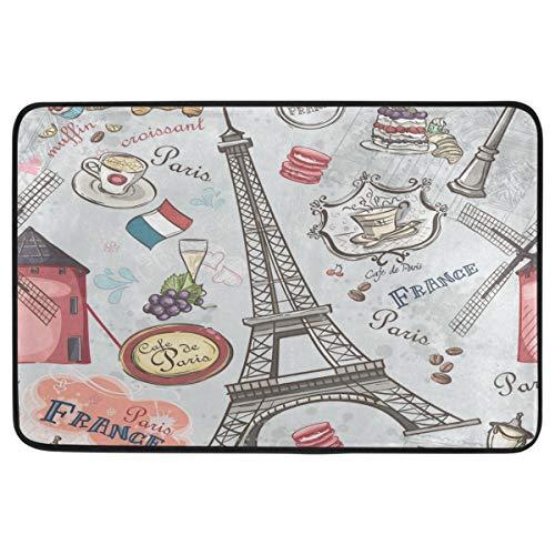 Wamika Vintage Paris Eiffel Tower Decorative Doormat Non Slip Washable Grape Cake Coffee Romantic France Welcome Indoor Outdoor Entrance Bathroom Floor Mats Home Decor, 23.6 x 15.7 inch ()