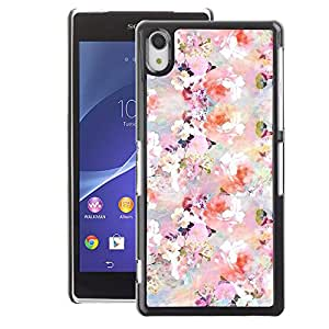 A-type Arte & diseño plástico duro Fundas Cover Cubre Hard Case Cover para Sony Xperia Z2 (Floral Pattern Flowers Spring White Pink)