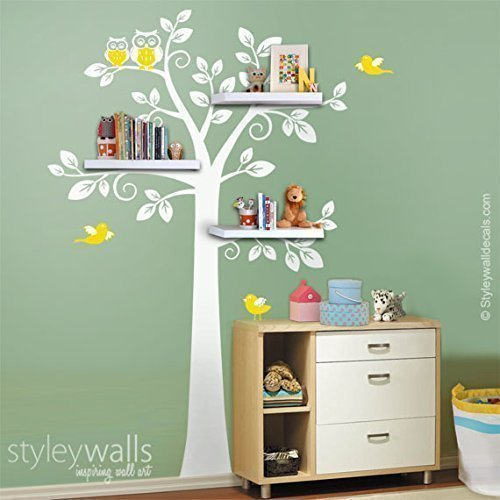 Shelves Tree Wall Decal For Nursery, Owls Tree Wall Decal, Shelving Tree  With Birds
