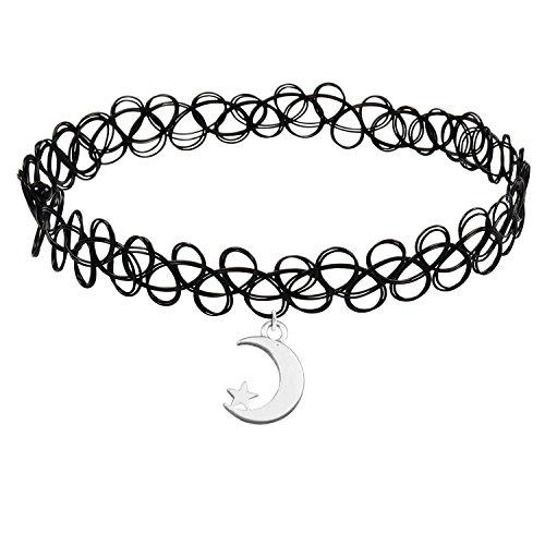 Cozylife Girls Black Stretch Gothic Tattoo Henna Hippy Choker Necklace with Moon Star Pendant