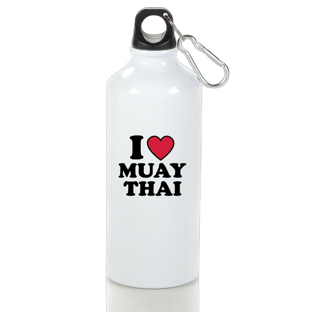 KH546JF I Love Muay Thai Aluminum Water Bottle With Carabiner Lid 400ml/500ml/600ml by KH546JF