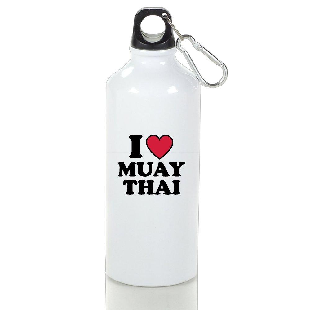 KH546JF I Love Muay Thai Aluminum Water Bottle With Carabiner Lid 400ml/500ml/600ml