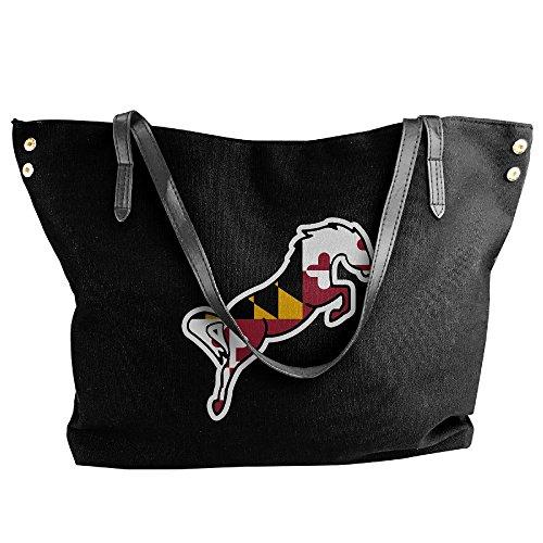 Black Maryland Flag Horse Tote Canvas Handbag Bags Shoulder Women's Large Messenger WvgRqw4