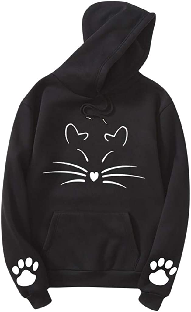 ZANFUN Cat Sweatshirts for Women Cute Print Long Sleeve Hoodie Pullover Tops Tunic Casual Athletics Tops with Pocket