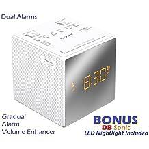 "Sony Dual Gradual Alarm Clock with AM/FM Radio, Sleep Timer, Extendable Snooze, Radio or Buzzer Alarm Sound, Gradual Alarm Volume Enhancer, Large Half Mirror LCD Display, Brightness Control, 3"" Built-in Speaker & Battery Back-Up - White - Sleek Modern Design *BONUS* DB Sonic LED Nightlight"