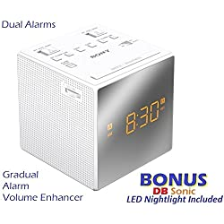 Sony Dual Gradual Alarm Clock with AM/FM Radio, Sleep Timer, Extendable Snooze, Radio or Buzzer Alarm Sound, Gradual Alarm Volume Enhancer, Large Half Mirror LCD Display, Brightness Control, 3 Built-in Speaker & Battery Back-Up - White - Sleek Modern