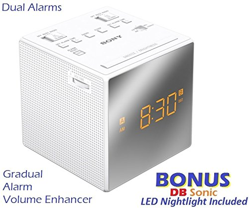 Sony Dual Gradual Alarm Clock with AM/FM Radio, Sleep Timer, Extendable Snooze, Radio or Buzzer Alarm Sound, Gradual Alarm Volume Enhancer, Large Half Mirror LCD Display, Brightness Control, 3 Built-in Speaker & Battery Back-Up - White - Sleek Modern
