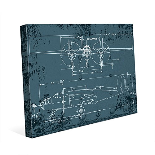Airplane Blueprint - Distressed Antique Vintage B25 Mitchell Bomber World War 2 WWII Plane Line Art Drawing Wall Art Print on Canvas