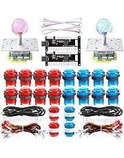 Dashtop LED Arcade DIY Parts 2X Zero Delay USB Encoder + 2 x 2/4/8 Way LED Joystick + 20x LED Illuminated Push Buttons for Mame Windows System & Raspberry Pi Projece Arcade Project Red + Blue Kits