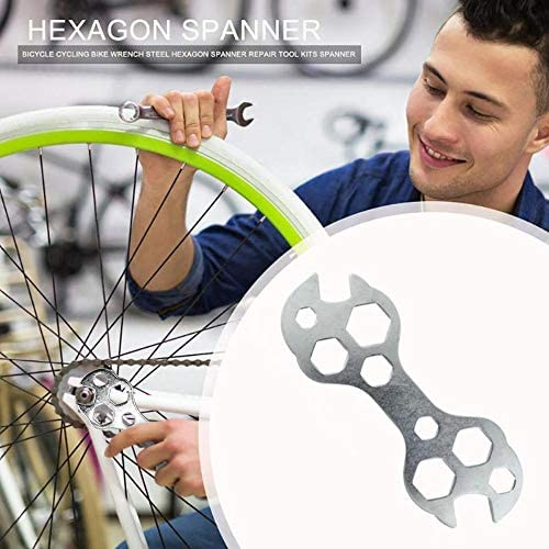 Multifunctional Bike Wrench Steel Small S-shape Bicycle Spanner Adjuster
