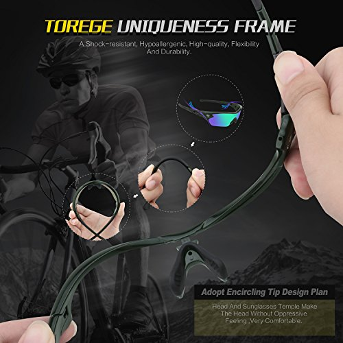 Torege Polarized Sports Sunglasses With 5 Interchangeable Lenes for Men Women Cycling Running Driving Fishing Golf Baseball Glasses TR002 (Transparent Gray)