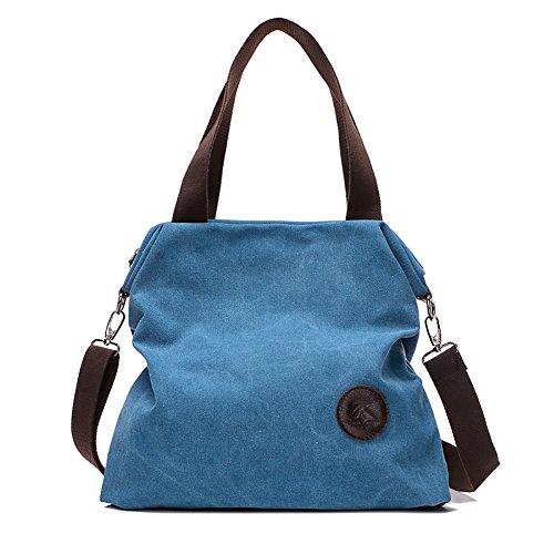 C Multifunción Mano de Mujer de Bolsa de azul Bolsa Moda Tela Bolsos de Hombro para Bolsos Lona Casual Mujer de I6p1qU