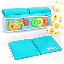 Bath Kneeler with Elbow Rest Pad Set (2-Piece), X-Long, Thick, Knee Cushioned Bathtub Support | Non-Slip Bottom, 4 Caddy Pockets | Hypoallergenic Padding | Blooop Bath Kneeling Pad