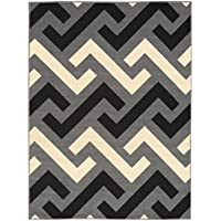 5-feet X 7-feet Non-Skid Rubber Backed Area Rug | BEIGE - GREY - BLACK Chevron Modern Rugs 5X7