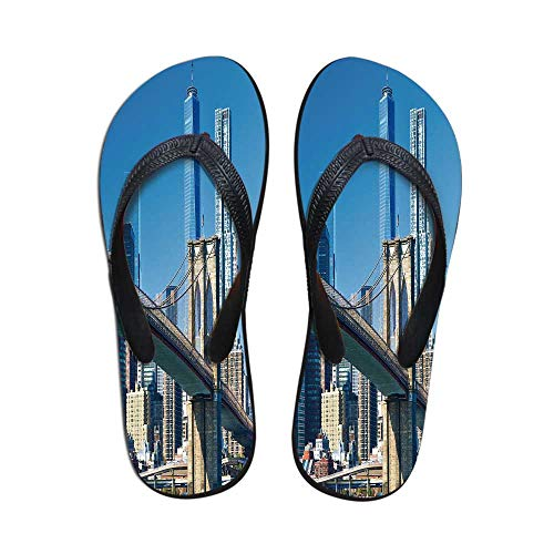 United States Modern Flip Flops,Lower Manhattan Skyline Brooklyn Bridge in New York City Famous Landmark for Party & House & Other Events,US Size 9