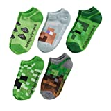 Minecraft Creeper Boys' No-Show Socks 5 Pairs Fit