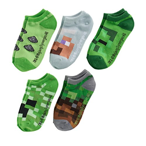 Minecraft Creeper Boys No-Show Socks 5 Pairs Fit Shoe Size - Minecraft Novelty