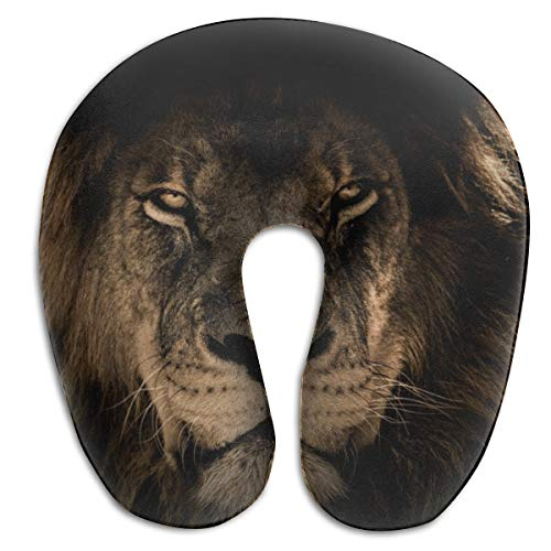 Soft Polyester Compact Neck Pillow Neck Sleeping Rest Cushion for Office Restful Sleep Car in Any Sitting Position - Machine Washable (African Lion King Mane Close Eyes) ()