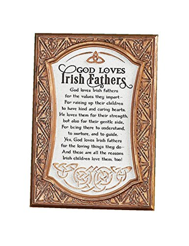 Biddy Murphy 'God Loves Irish Fathers' Irish Wall Decor Bronze Celtic Irish Blessing Family Home Plaque for Irish Father's Ready to Hang Wall Hanging
