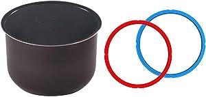 Genuine Instant Pot Ceramic Non-Stick Interior Coated Inner Cooking Pot - 6 Quart & Sealing Ring 2-Pack - 6 Quart Red/Blue