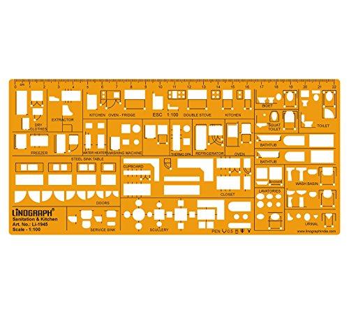 Interior Design Kitchen Template Sanitary Drafting Stencil Templates Scale 1:100 -