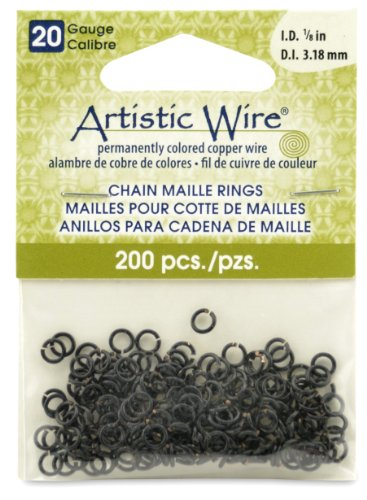 Artistic Wire 20-Gauge Black Chain Maille Rings, 1/8-Inch Diameter, 200- Pieces ()