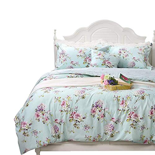 FADFAY Fashionable Rose and Hydrangea Floral 100% Cotton Soft Duvet Cover Set Reversible with Hidden Zipper Closure,Twin XL Size 3-Pieces