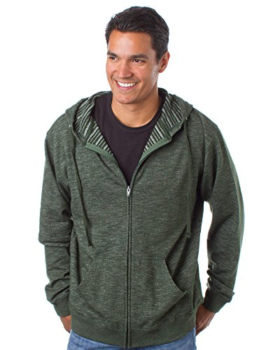 Zip Front French Terry Jacket - Global Blank  Striped Lightweight Hoodies Men French Terry Full Zip Up Hooded Sweatshirt ,Verde Clasico,Medium