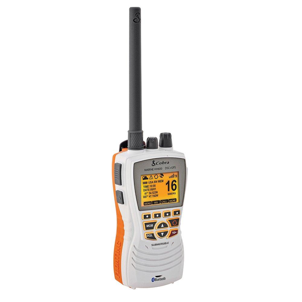 Cobra MR HH600, White MRHH600W Flt GPS Bt, Dsc Floating Vhf Radio, White