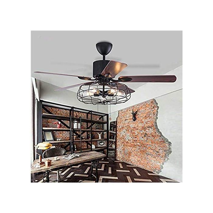 51D5a%2B4uMpL Estilo: ventilador de techo vintage con luz, decoración industrial del hogar. Equipado con un motor de cobre puro, que es silencioso y estable de potencia que te ofrece un ambiente adecuado para la vida / dormir, trabajo promedio de 5-10 años. Función reversible: 5 hojas de nogal marrón pueden ser reversibles para adaptarse a los requisitos de temporada de verano e invierno, mantén a tus familias alejadas del aire acondicionado y fortalecer la circulación del aire en invierno.