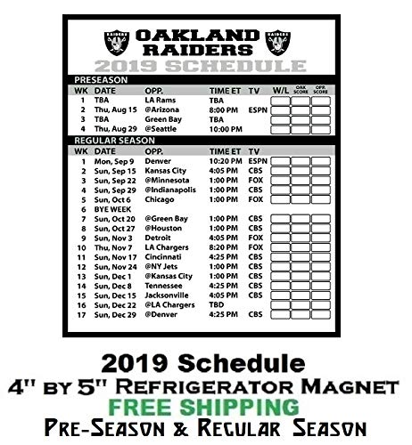 Raiders Football Schedule 2019 Amazon.com: Oakland Raiders NFL Football 2019 Full Season Schedule