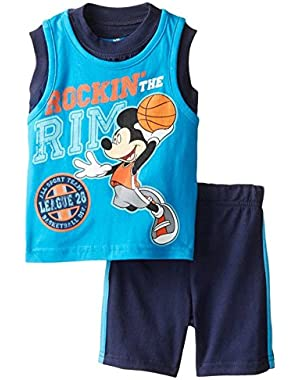 Disney Infant Boys 2P Mickey Mouse Basketball Sleeveless Shirt & Shorts Set