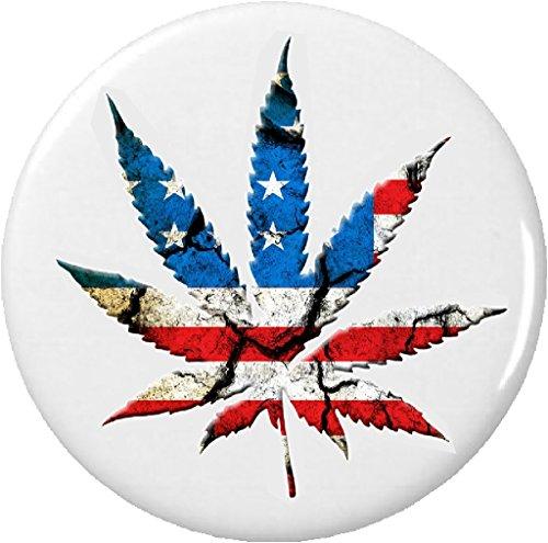 "American Flag Marijuana Leaf 1.25"" Pinback Button Pin Cannabis Weed"
