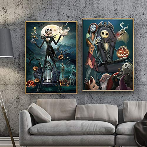 2 Sets 5D Full Drill Diamond Painting Kits Halloween Skull Ghost Pumpkin Rhinestone Painting Embroidery for Art Craft and Home Decoration, 12 x 16 inch]()