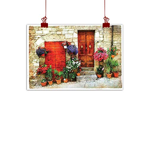 - Canvas Prints Wall Decor Art Tuscan,Colorful Flowers Outside Home in Italian Hilltown Assisi Rustic Door Image,Ivory Orange Violet 24